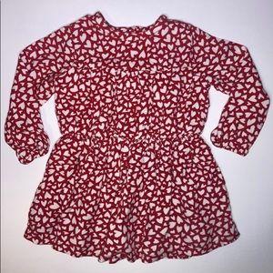 mboree Red & White Long Sleeve Heart Dress